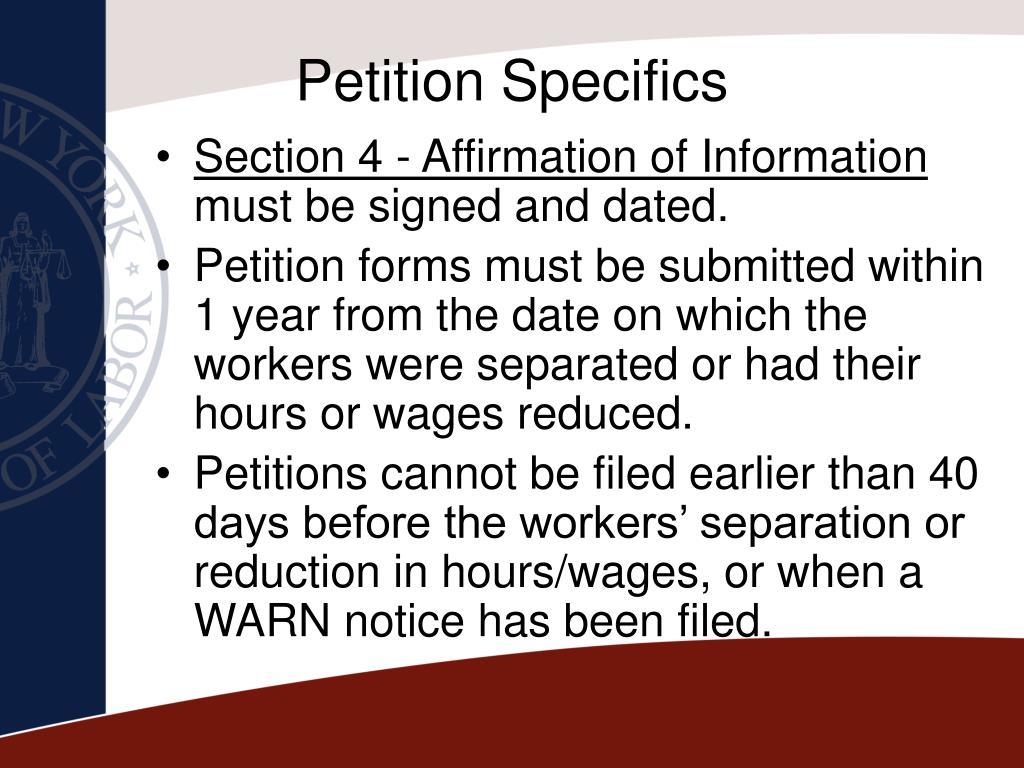 Petition Specifics