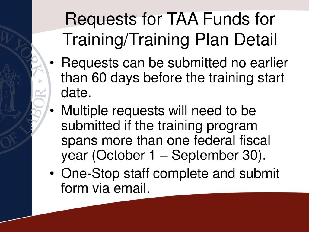 Requests for TAA Funds for Training/Training Plan Detail