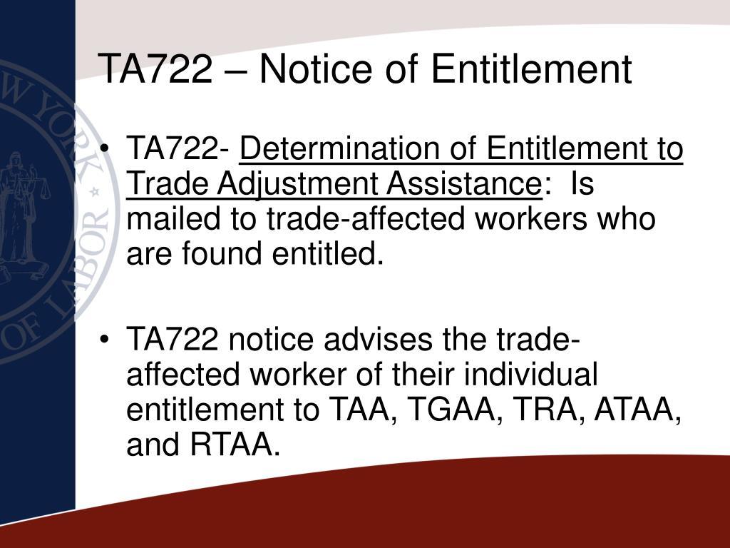 TA722 – Notice of Entitlement