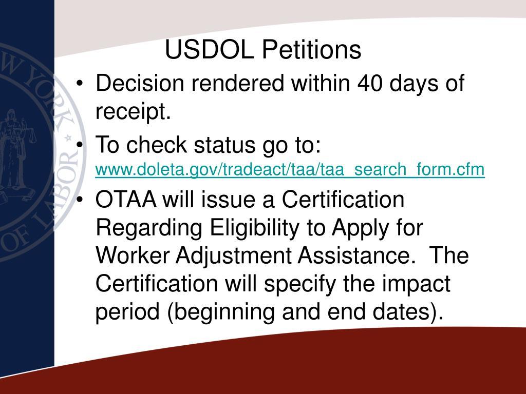 USDOL Petitions