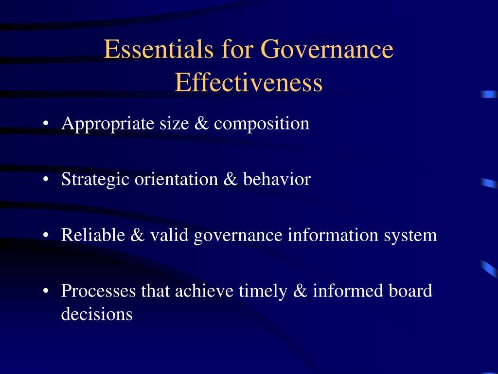 Essentials for Governance Effectiveness