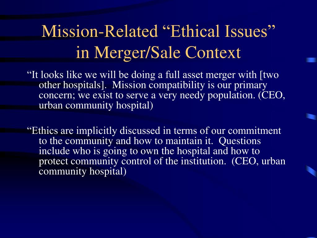 """Mission-Related """"Ethical Issues"""""""