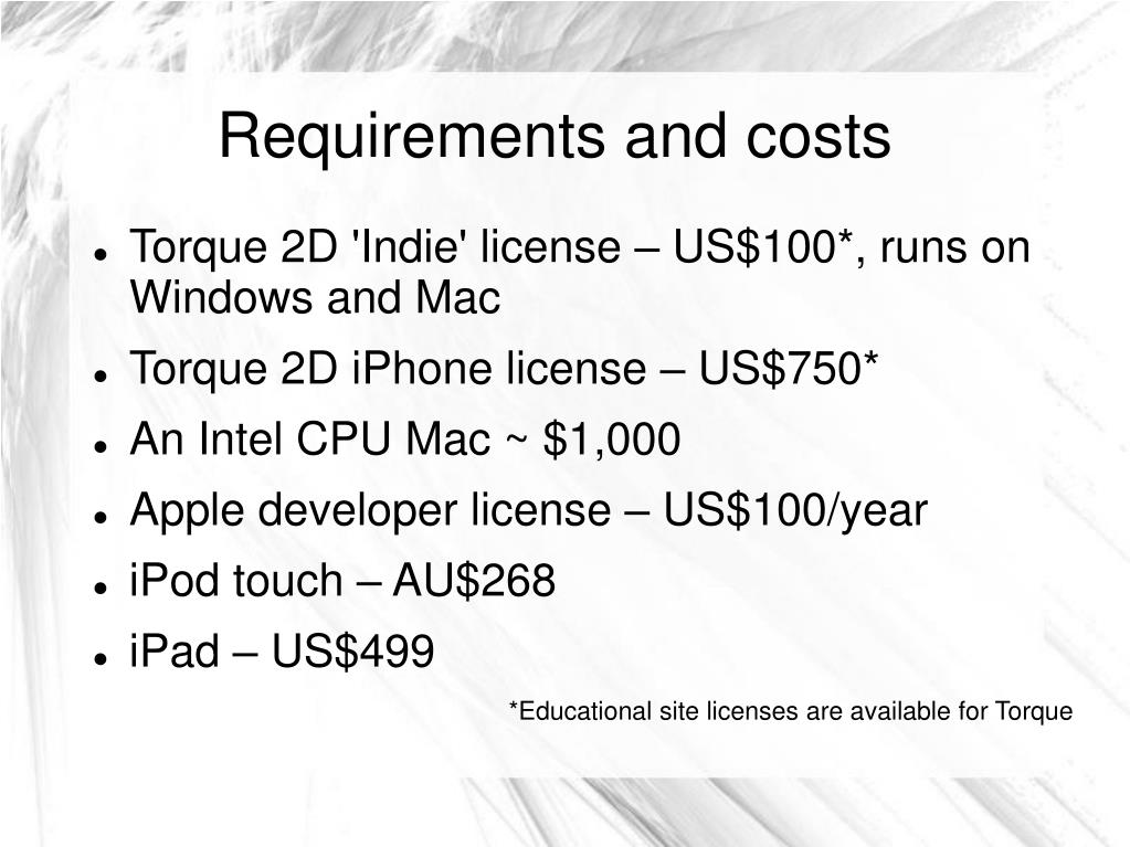 Requirements and costs