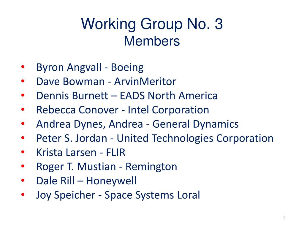 Working Group No. 3