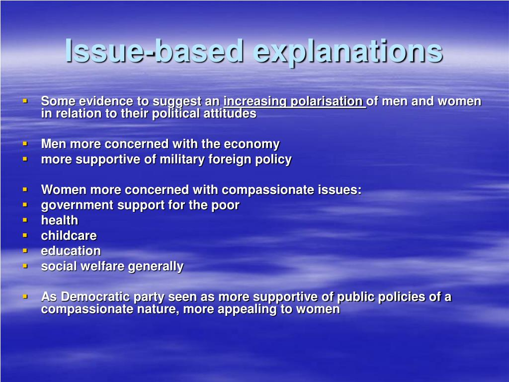 Issue-based explanations
