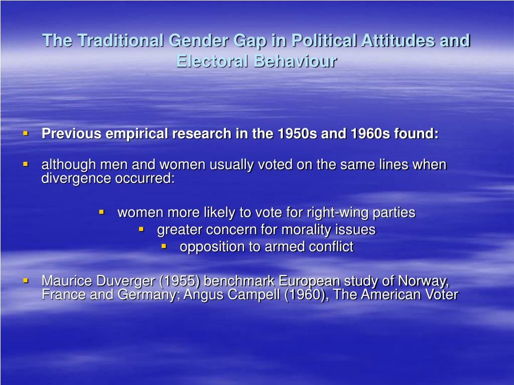 The Traditional Gender Gap in Political Attitudes and Electoral Behaviour