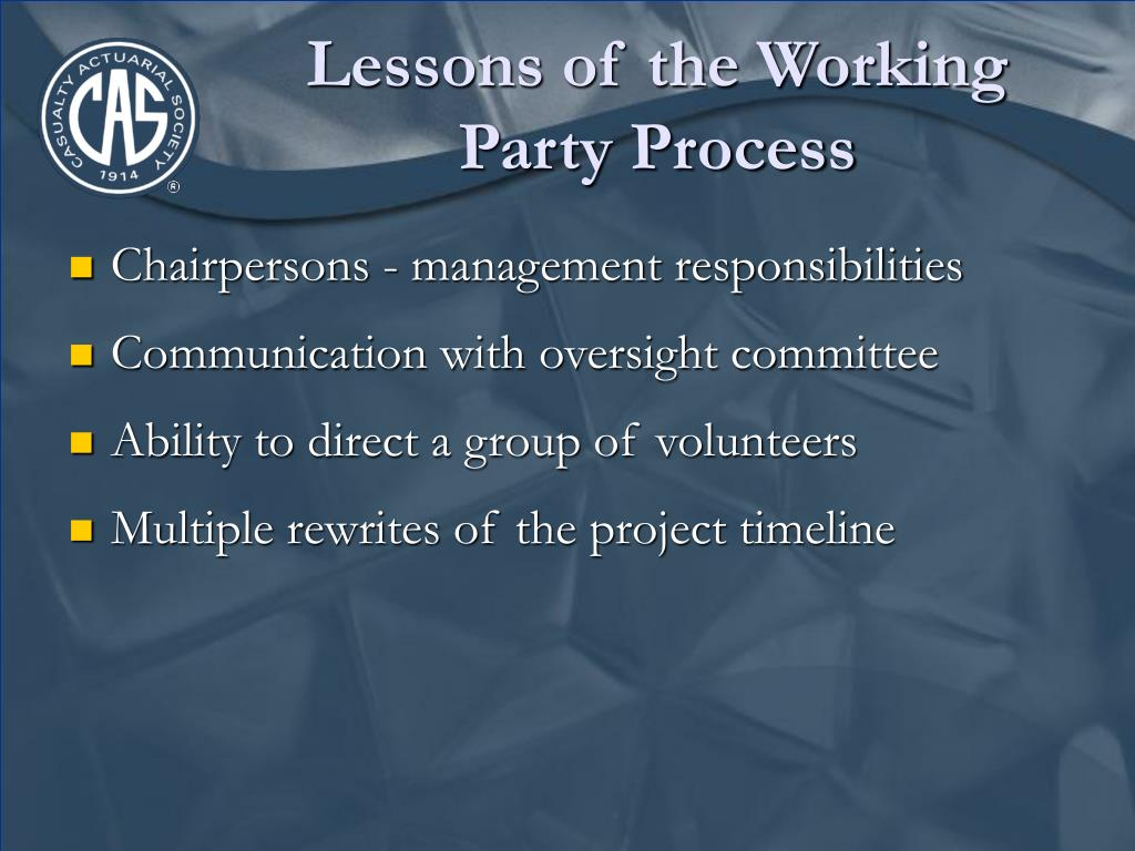 Lessons of the Working