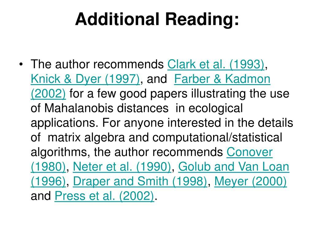 Additional Reading: