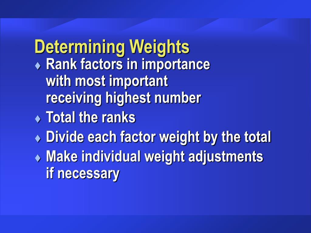 Determining Weights