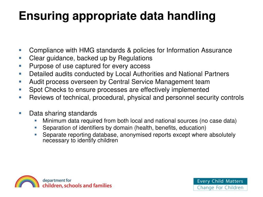 Ensuring appropriate data handling