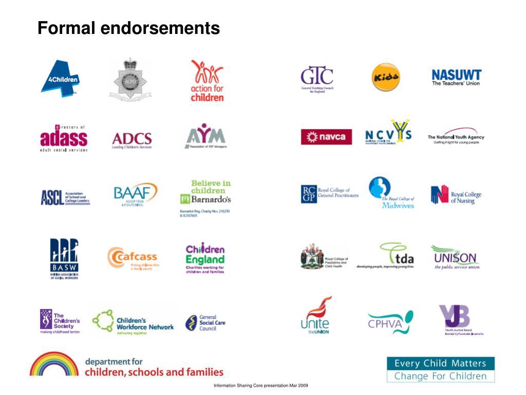 Formal endorsements