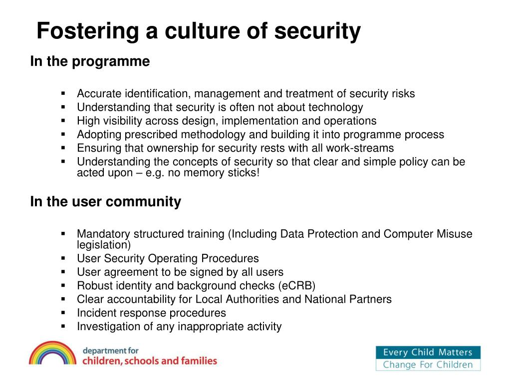 Fostering a culture of security