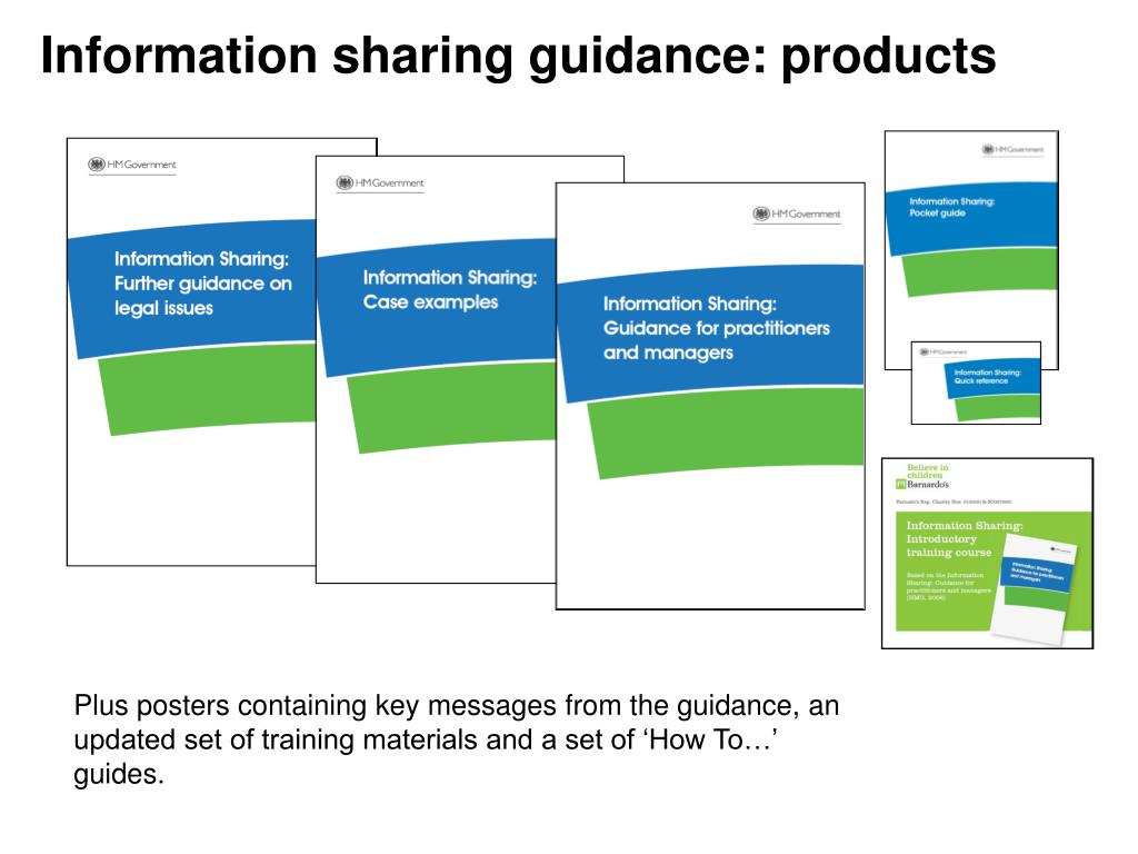 Information sharing guidance: products