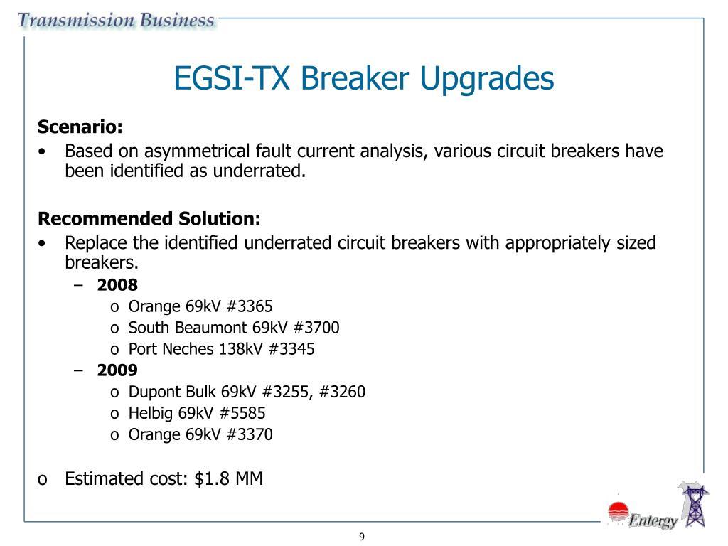 EGSI-TX Breaker Upgrades