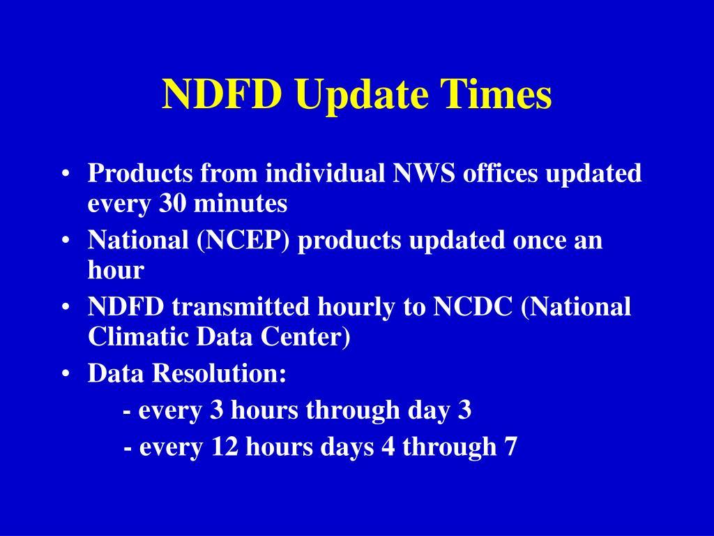 NDFD Update Times