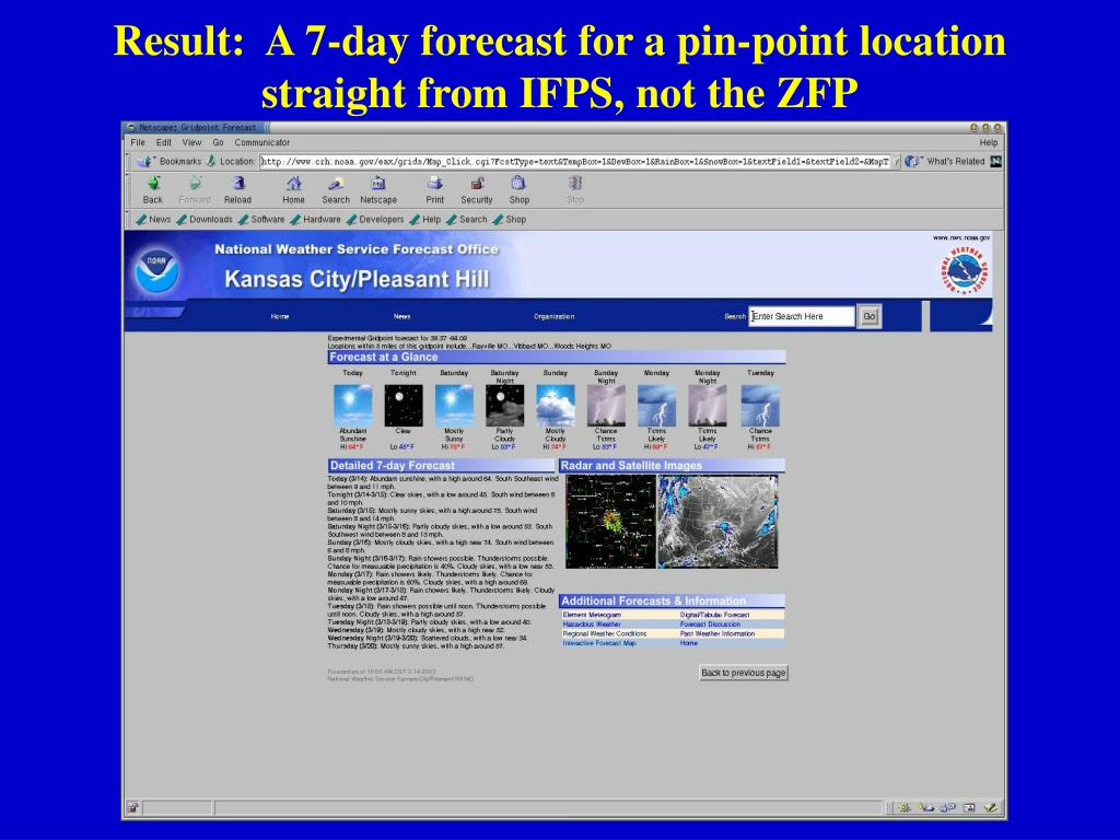 Result:  A 7-day forecast for a pin-point location straight from IFPS, not the ZFP