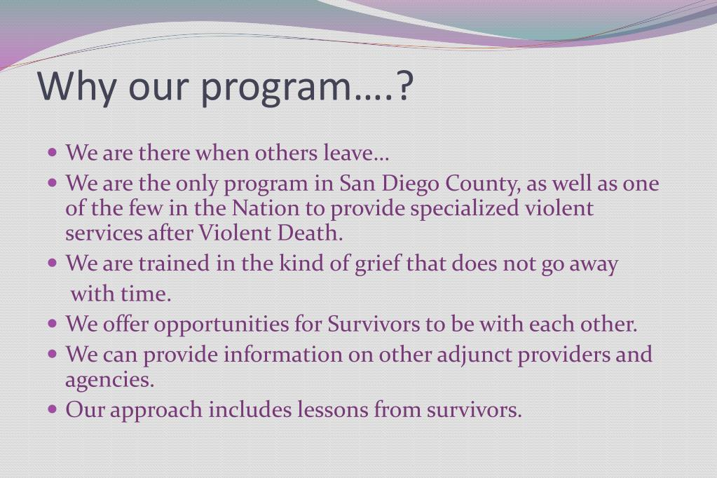 Why our program….?