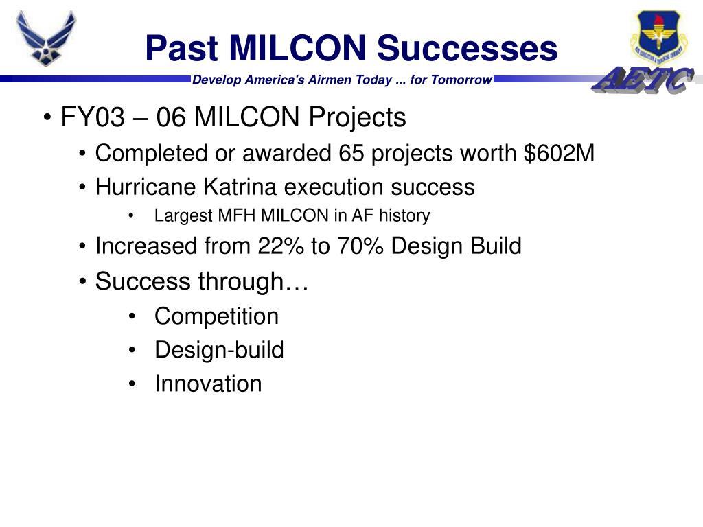 Past MILCON Successes