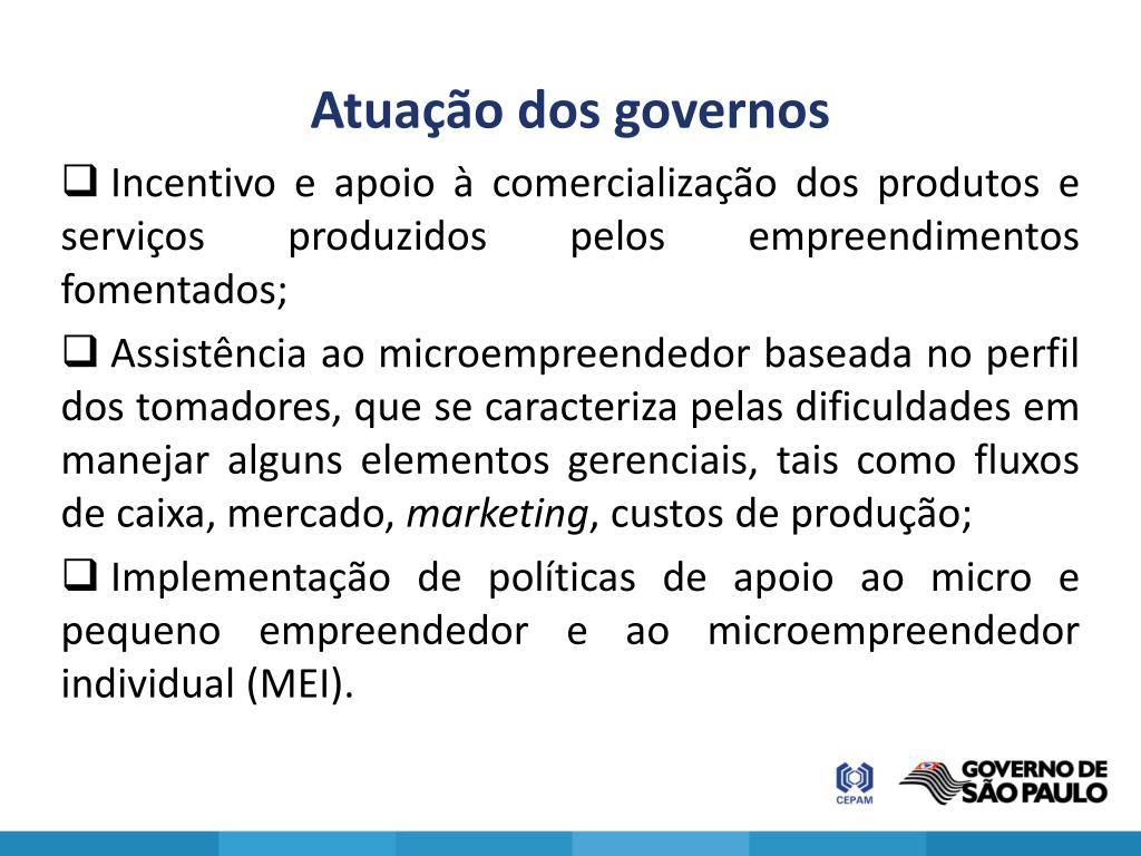 Atuação dos governos