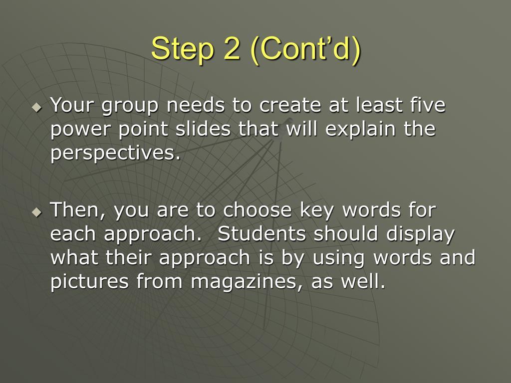 Step 2 (Cont'd)