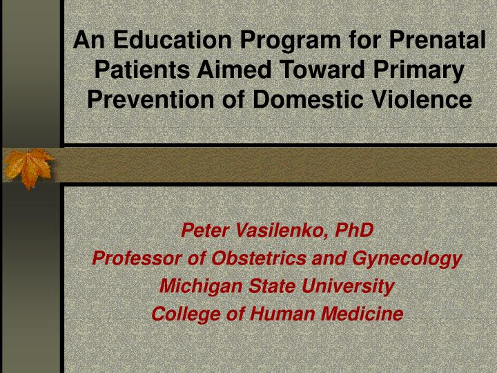 An education program for prenatal patients aimed toward primary prevention of domestic violence l.jpg