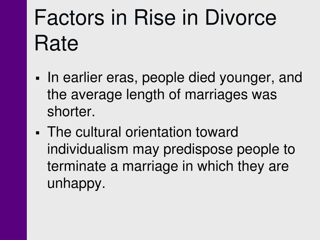 Factors in Rise in Divorce Rate