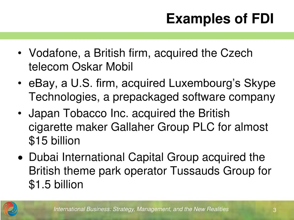 Examples of FDI