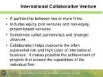 international collaborative venture