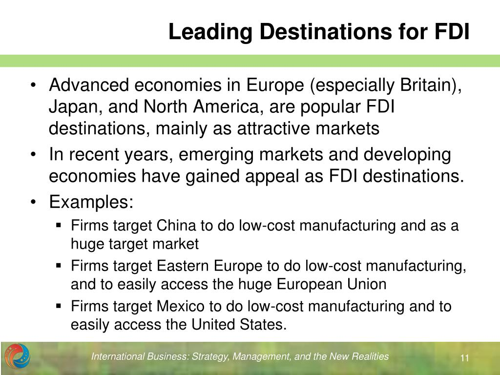 Leading Destinations for FDI
