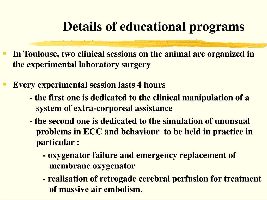 Details of educational programs