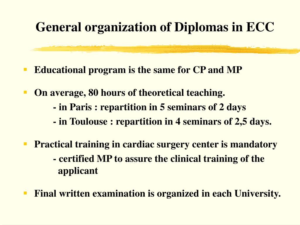 General organization of Diplomas in ECC