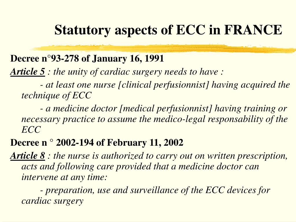 Statutory aspects of ECC in FRANCE