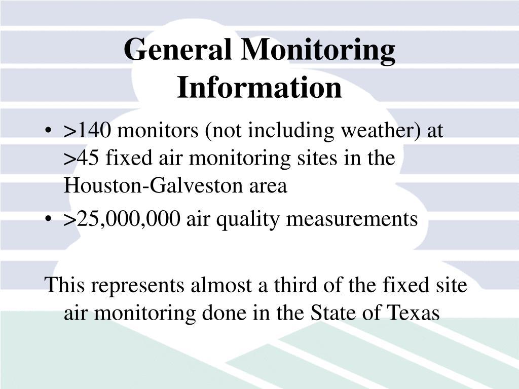 General Monitoring Information
