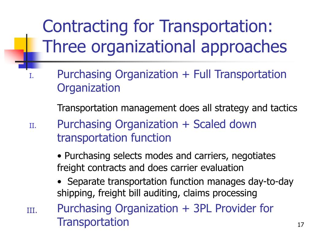 Contracting for Transportation: