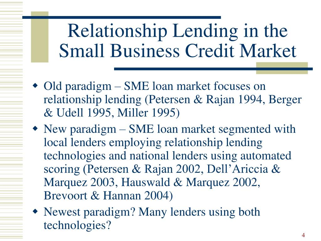 small business credit availability and relationship lending