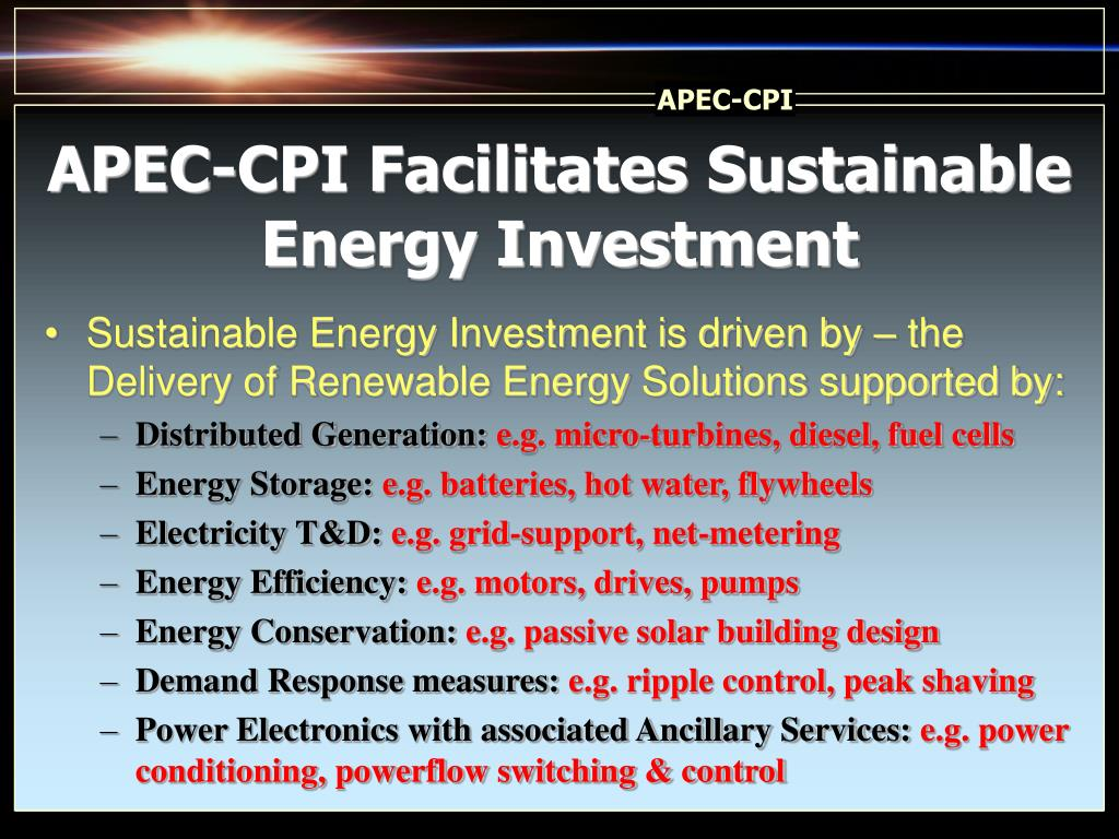 APEC-CPI Facilitates Sustainable Energy Investment