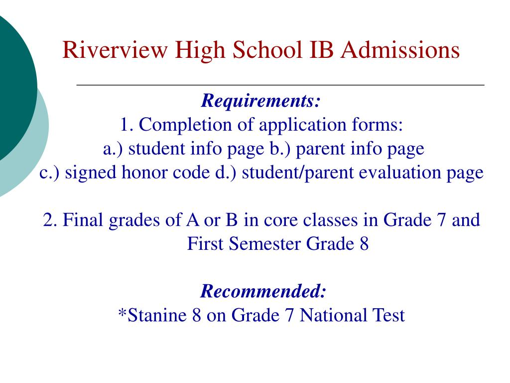 Riverview High School IB Admissions