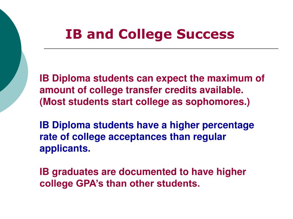 IB Diploma students can expect the maximum of amount of college transfer credits available. (Most students start college as sophomores.)