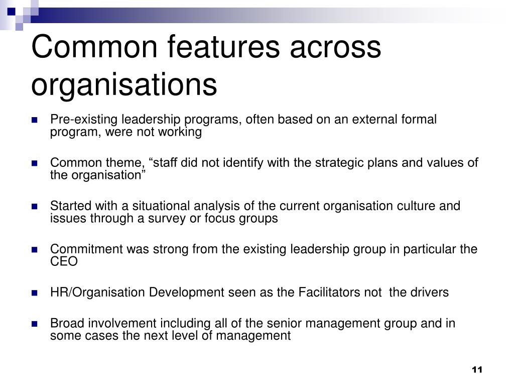 Common features across organisations