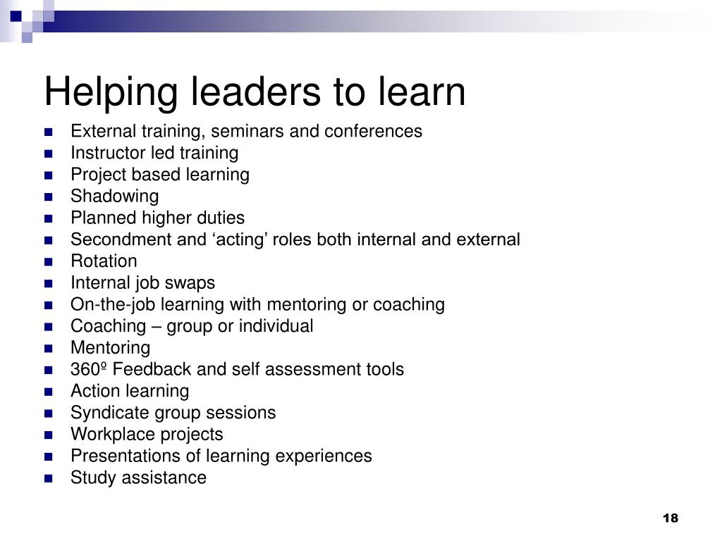 Helping leaders to learn