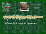 principal objectives expected output and suggested activities