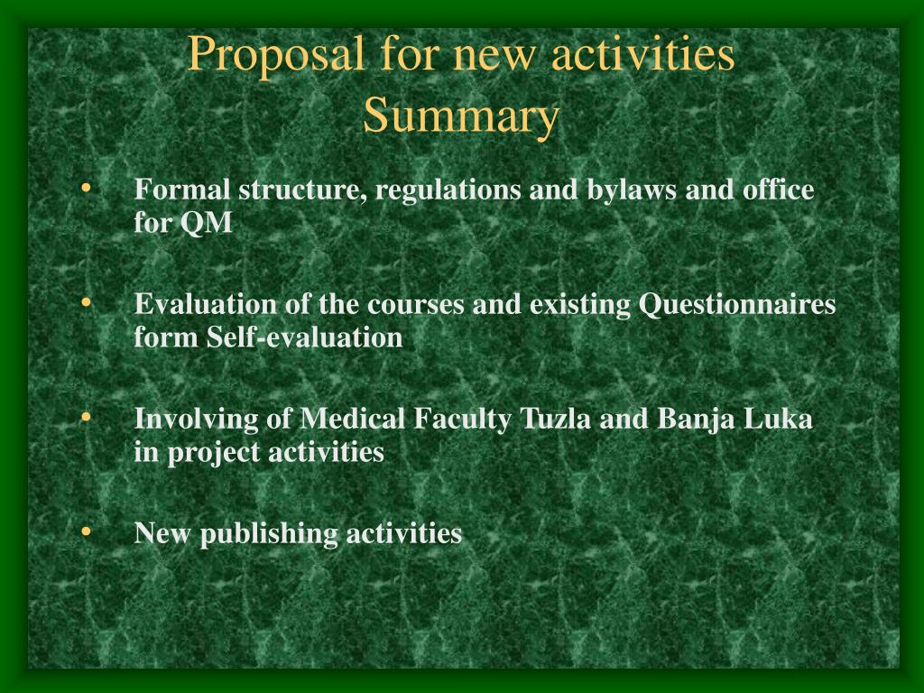 Proposal for new activities