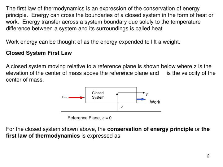 The first law of thermodynamics is an expression of the conservation of energy principle.  Energy ca...