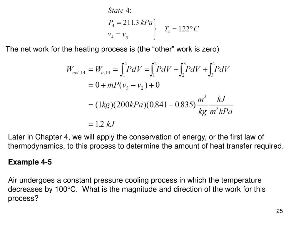 "The net work for the heating process is (the ""other"" work is zero)"
