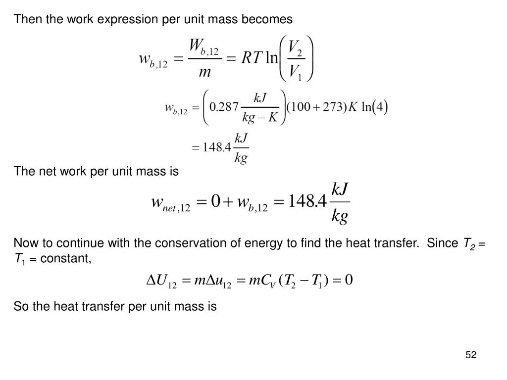 Then the work expression per unit mass becomes