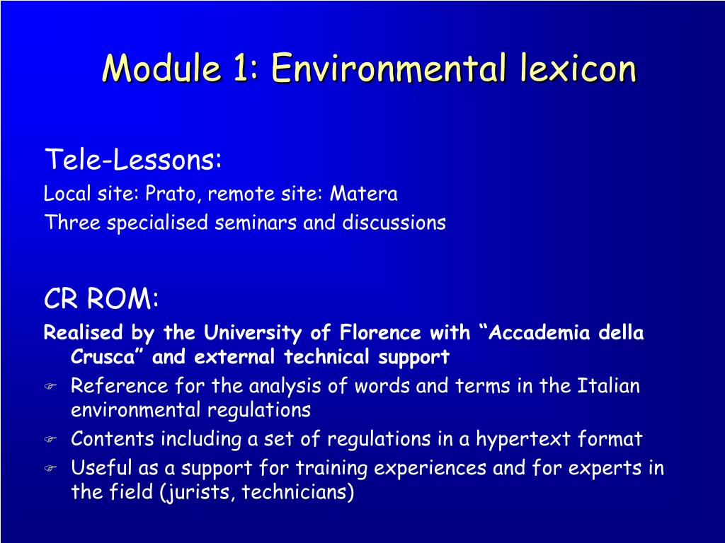 Module 1: Environmental lexicon