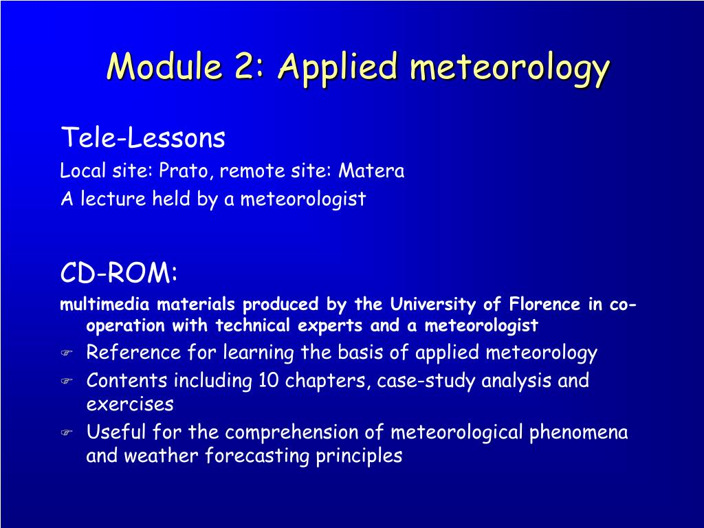 Module 2: Applied meteorology