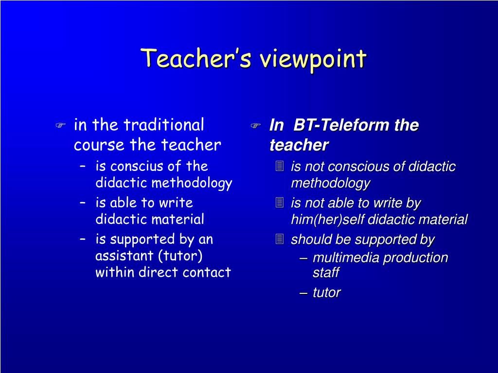 Teacher's viewpoint
