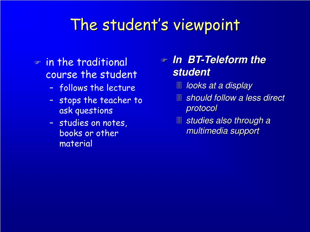 The student's viewpoint