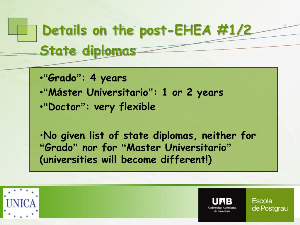 Details on the post-EHEA #1/2